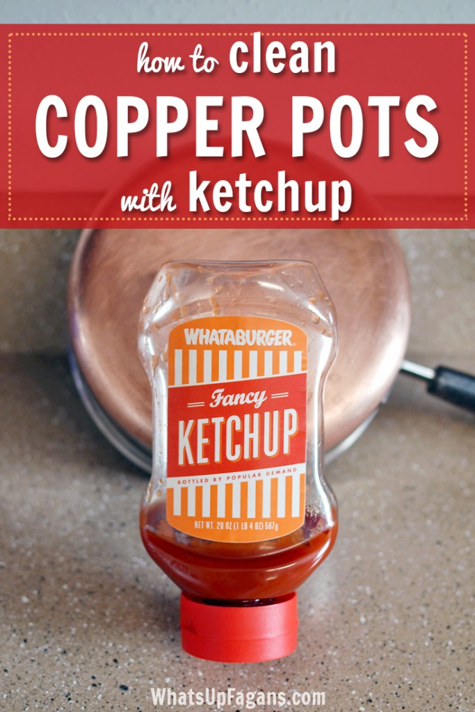 A DIY cleaning tutorial hack for cleaning copper pots with ketchup!