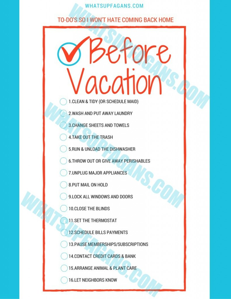 Before Vacation checklist copyright
