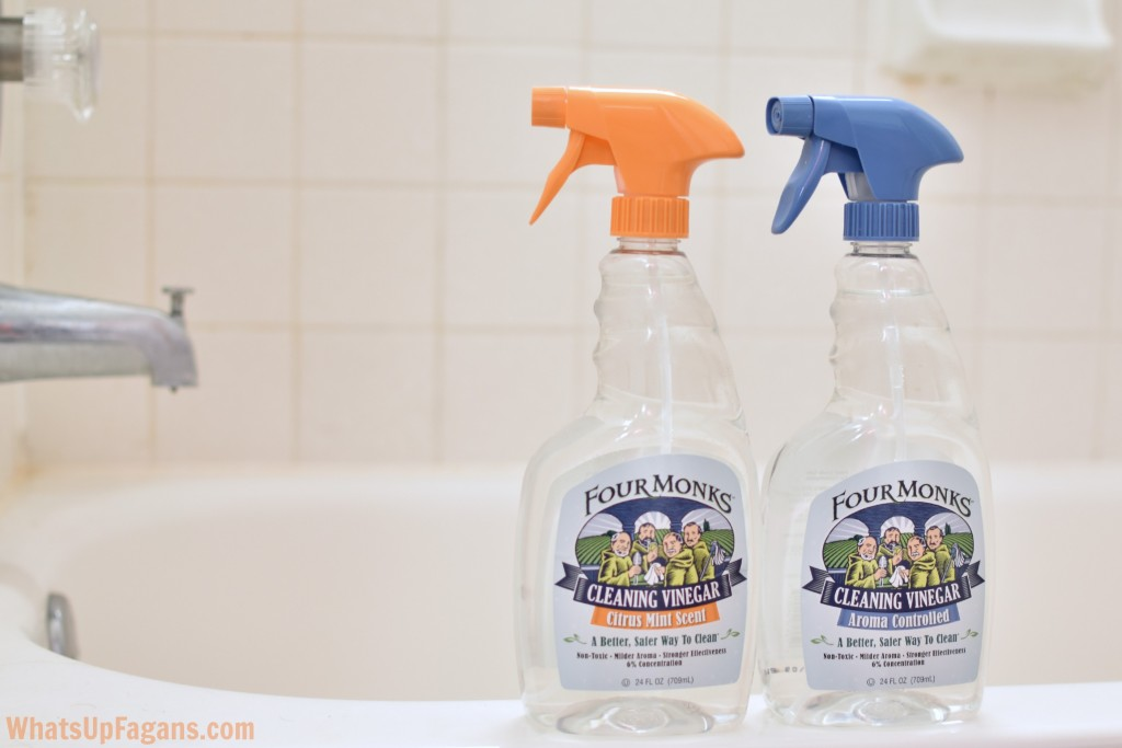 Use Four Monks Cleaning Vinegar to shine and clean bathrooms and faucets.