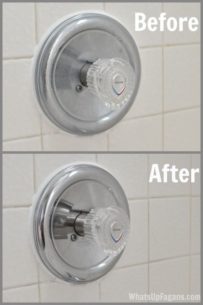 how to clean bathroom faucets so they are shiny before and after picture