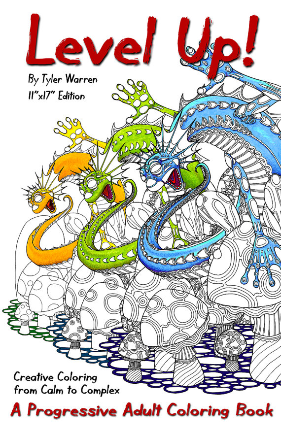 Great new adult coloring book that offers 3 different levels of each image so the whole family can color together!