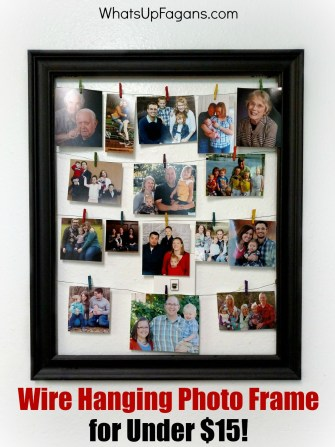 Great tutorial on making your own wire hanging photo frame for under $15! DIY craft for displaying Christmas cards, postcards, or other memos.