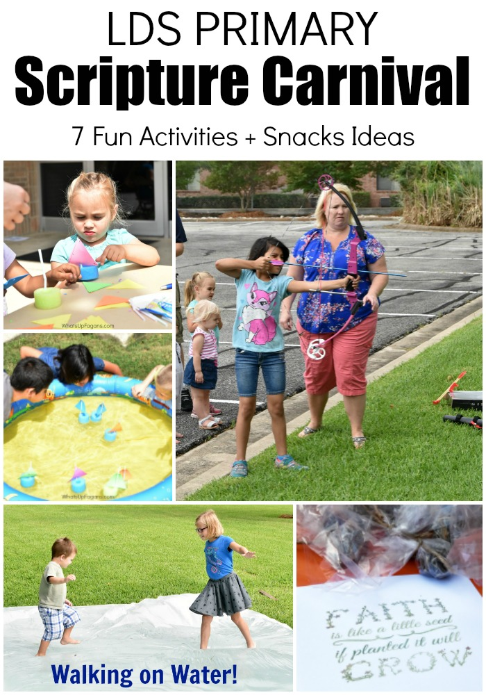 Fun LDS Primary Scripture Carnival Game Ideas and snack ideas! Perfect for Primary Activity outdoor. David and Goliath. Walking on Water. Bow and Arrow. Fishers of Men. Planting Seeds. Archery.