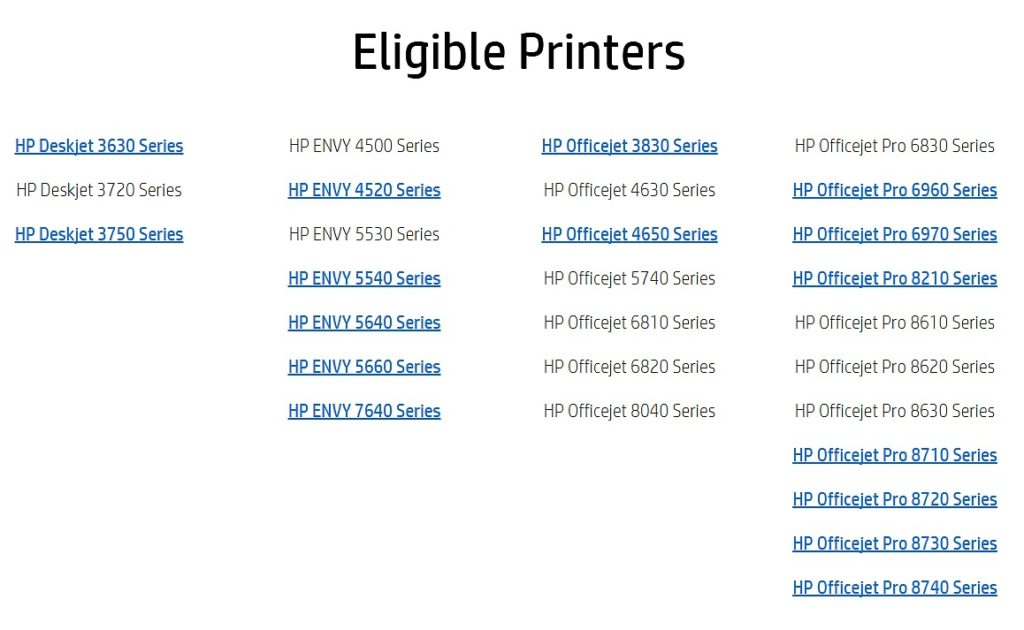 HP Instant Ink Capable Printers