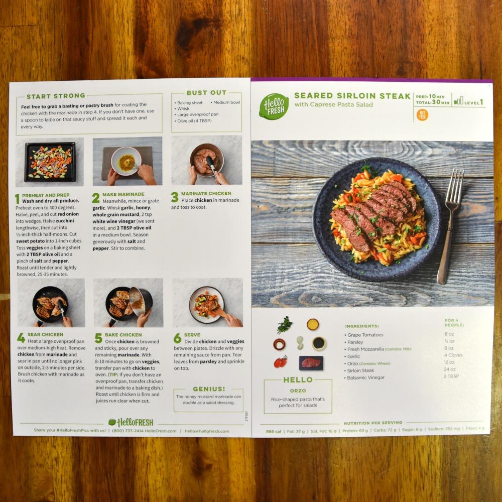 Hello Fresh Review - Seared Sirloin Steak with Caprese Pasta Salad