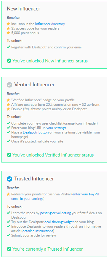 dealspotr influencer network - new verified and trusted influencer tiers