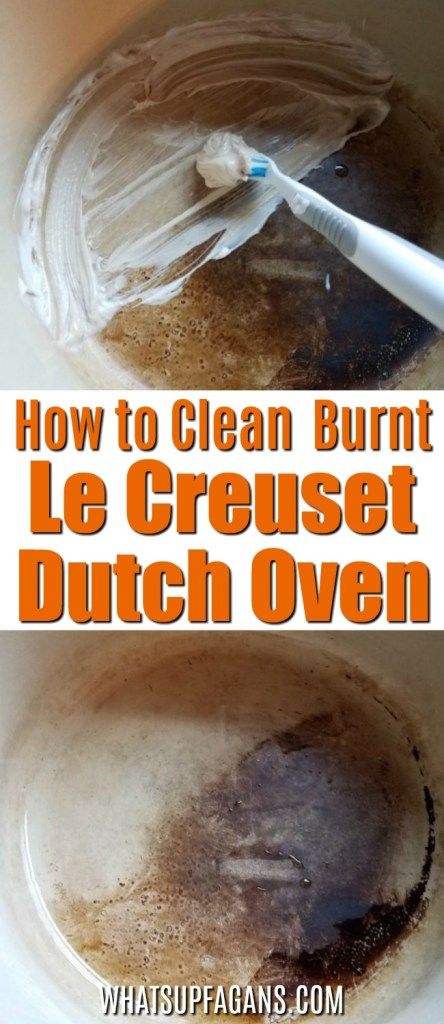 how to clean burnt Le Creuset enamel Dutch Oven pot with toothpaste! Kitchen Cleaning Hack   Toothpaste uses   stain removal tip   remove stains