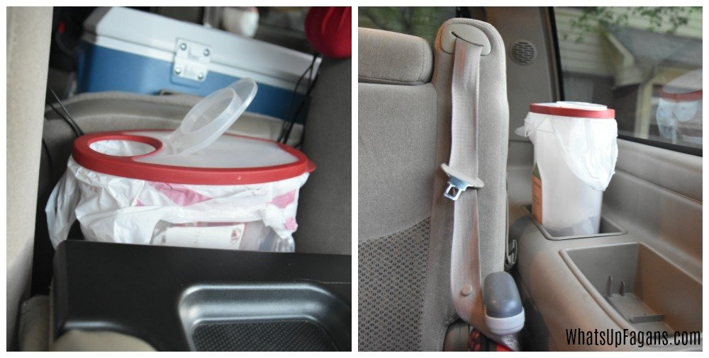 road trip trash bag cereal bin idea