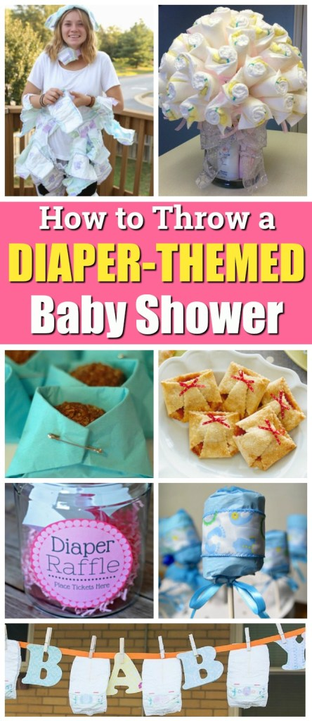 Diaper theme baby shower ideas - snack recipes, treats, party favors, decor and decorations, diaper party games, and more!