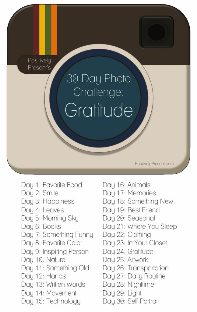 Gratitude photo challenge idea for 30-days on Instagram