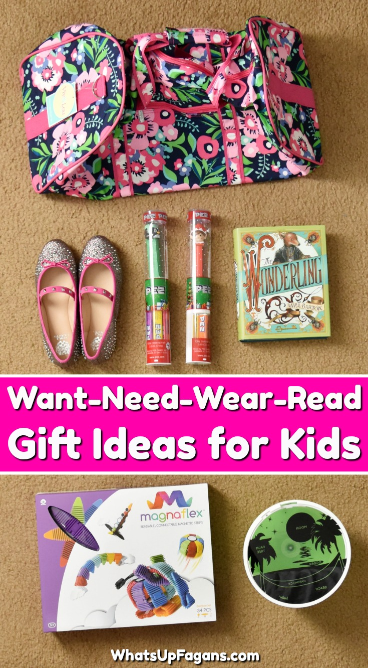 Fun list of kids gift ideas if you are doing a want need wear read 4 gifts for Christmas tradition. #Christmas #Christmasgift #wantneedwearread #books #childrensbooks #kidsclothes #kidsfashion #giftguide #giftideas #gifts #giftsforkids