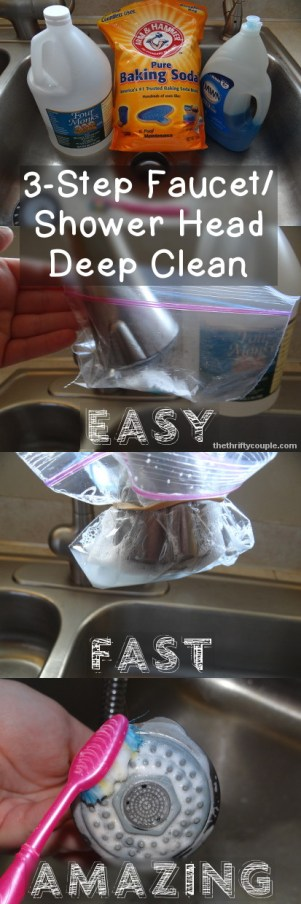 3-Step Faucet and shower head deep clean that is easy, fast, and amazing