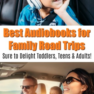 family taking road trip together in car, listening to best audiobooks for family road trip