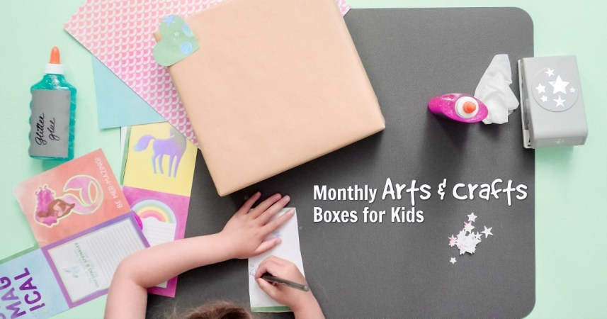 Decorating present for kids with an art subscription box or monthly craft box for kids.