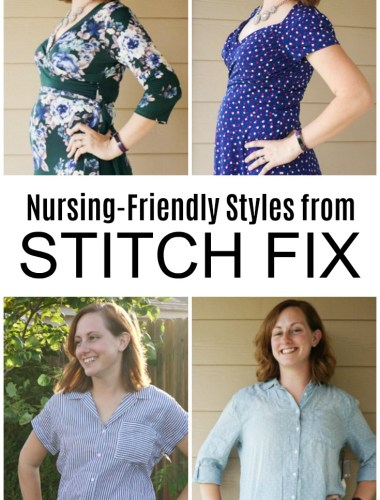 Stitch Fix nursing tops and Stitch Fix nursing dresses on a nursing mom who breastfeeds. Feature nursing-friendly styles.