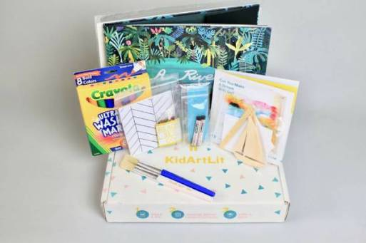KidArtLit is a monthly arts and craft subscription box with a monthly book in a box for kids too