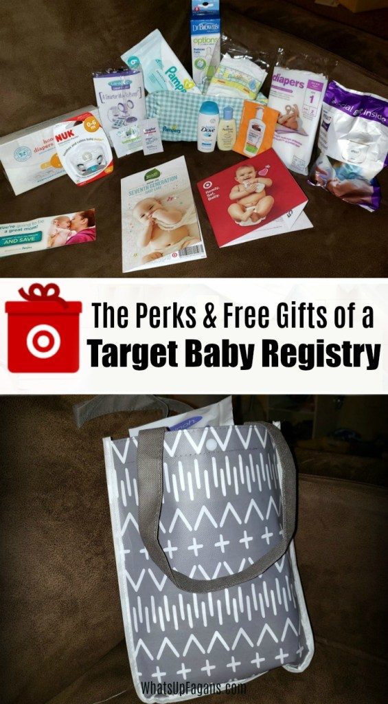 collage pictures of target baby registry gift bag and target baby registry inserts and free gifts