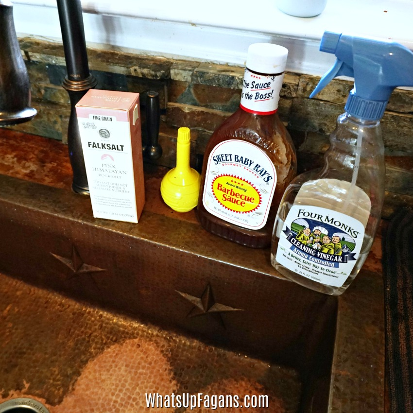 care of copper sinks means avoid acidic foods like barbecue sauce, lemons, and vinegar as those can actually work to clean a copper sink