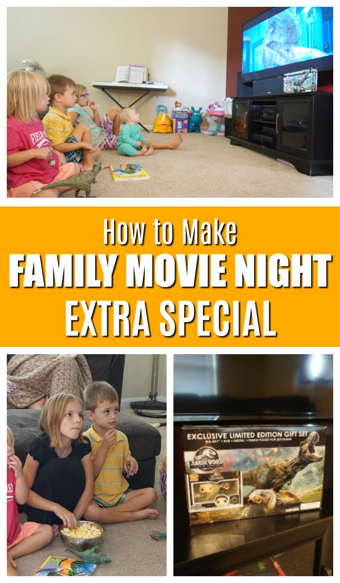 Family movie night is so much more than an excuse to zone out after a long week! Here are some tips on making family movie night a tradition, something fun, and something your kids will remember going forward! #ad #family #familytradition #tradition #movies #FallenKingdomArrives #FallenKingdom #JurassicWorld #Funko #dinosaurs #movienight #familymovienight #DVDlaunch