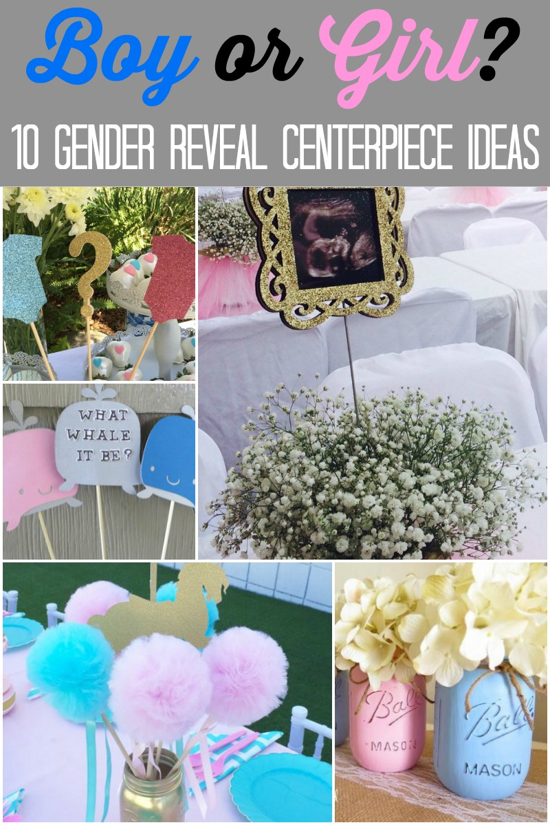 Find the right gender reveal centerpieces for your gender reveal party with the nearly a dozen gender reveal centerpiece ideas found below. #babyshower #genderreveal #genderrevealparty #partyideas #babyshowerideas #genderrevealideas #genderreveals #genderreavelparties #centerpieces #partydecor #partydecorations