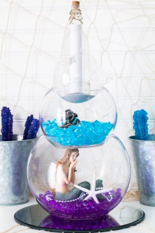 under the sea themed gender reveal party centerpieces idea for mermaid or fisherman gender reveal party