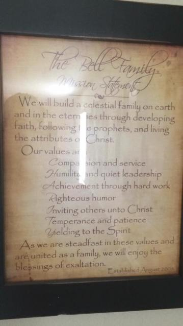 The Bell Family Mission Statement example, framed and hanging on the wall.