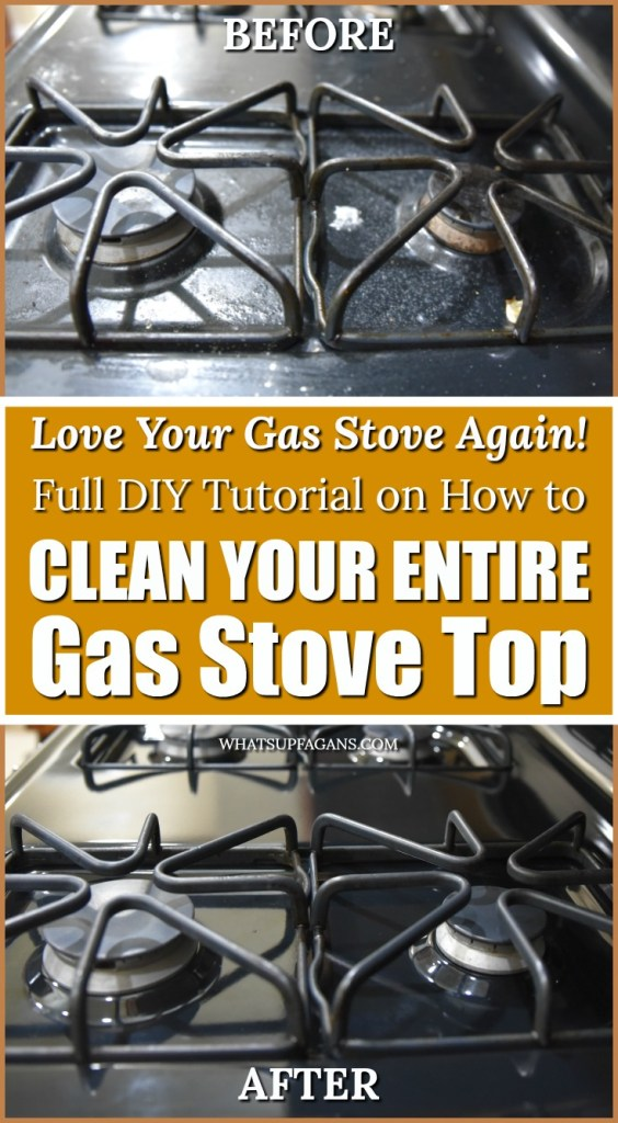 how to clean a gas stove before and and after pictures! Cleaning gas stove tops involves knowing how to clean gas stove grates, gas stove burner heads, and the gas stove top!