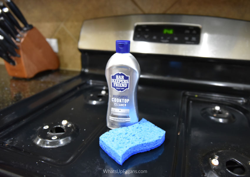 image of the best gas stove top cleaner Bar Keepers Friend cooktop cleaner