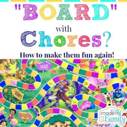 cleaning board game for kids made from Chutes and Ladders from Your Modern Family