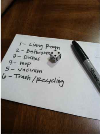 cleaning games for kids using dice