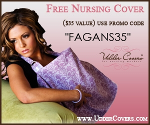 how to get free nursing cover - an ad for a breastfeeding freebie when you use promo discount code FAGANS35