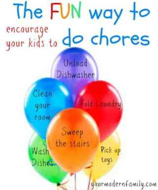 how to make chores fun idea using balloons to write the chore on it and letting kids pop when done from Your Modern Family.