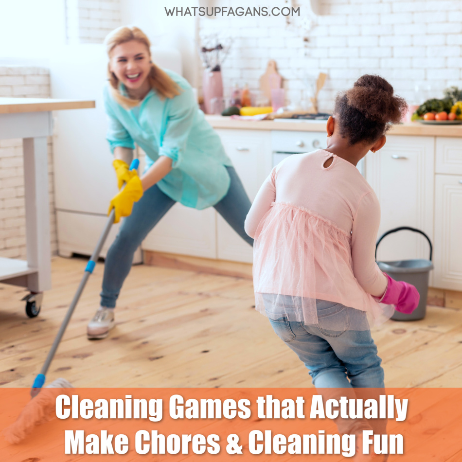mother and daughter engaging in cleaning games for kids in order to figure out how to make chores fun