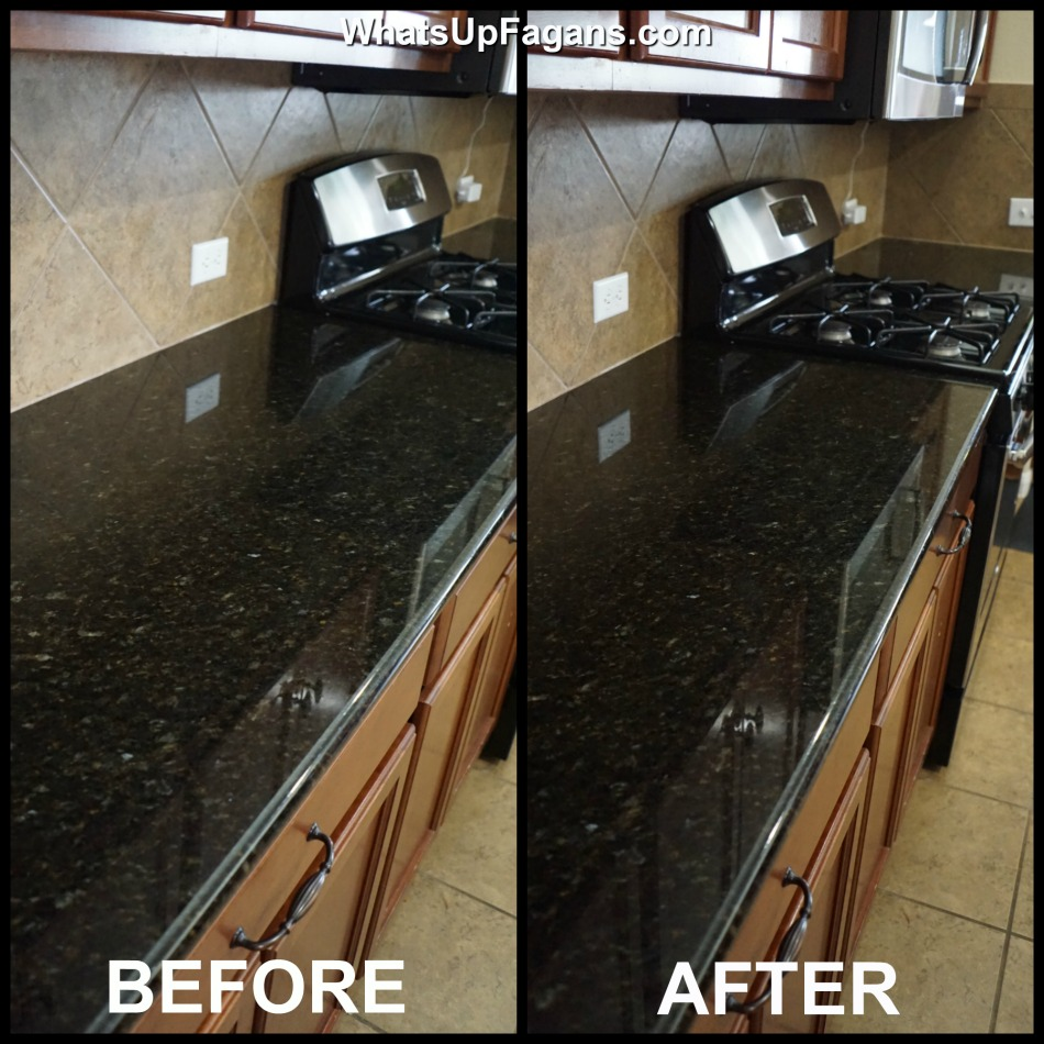 Before and after of cleaning granite countertops that are a dark black granite counter in the kitchen.