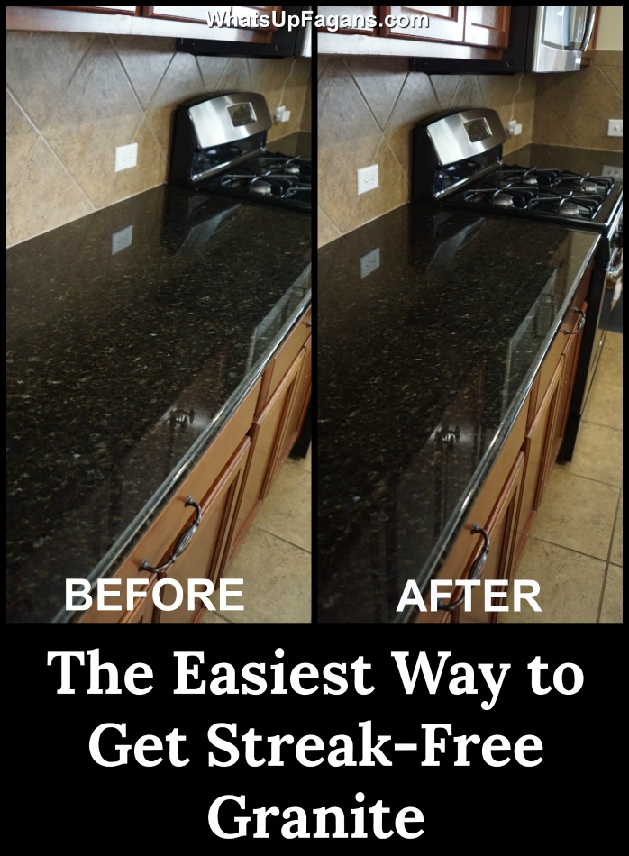 side-by-side comparison of clean granite countertop and a dirty granite counter. How to clean granite countertops in your kitchen using the best granite cleaner that is pH balanced and make the granite streak-free.