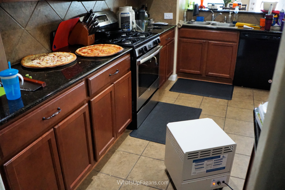 how to get get burn smell out of house with an air purifier EnviroKlenz Mobile Air System when you accidentally burn the pizza crust really bad. The air cleanser is great for removing cooking smells. cooking odor air purifier