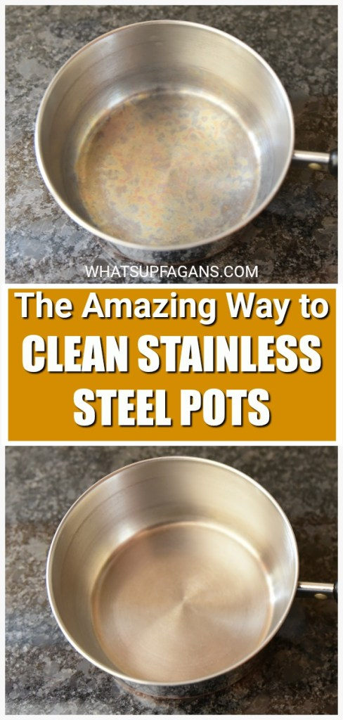 before and after of cleaning stainless steel pot with Bar Keepers Friend Cookware Cleanser and Polish. It's an amazing way of how to clean stainless steel pans