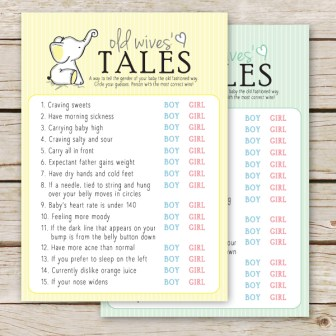 old wives tales printable gender reveal party game