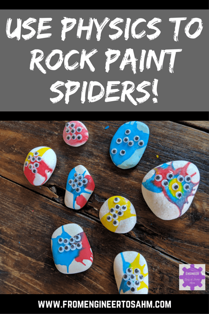 how to use physics to rock paint spiders - great preschool Halloween science activity