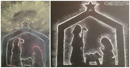 chalk nativity silhouette craft idea