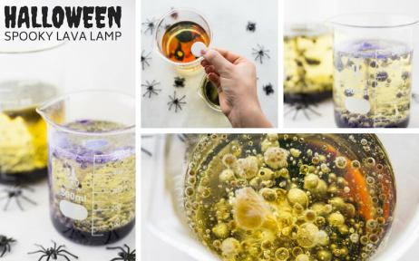 Spooky Halloween lava lamp - science experiments for elementary students