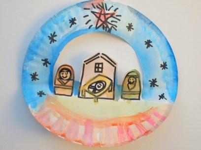 paper plate pop-up nativity scene craft