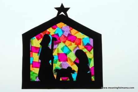 beautiful stained glass nativity scene craft for nativity Sunday school class