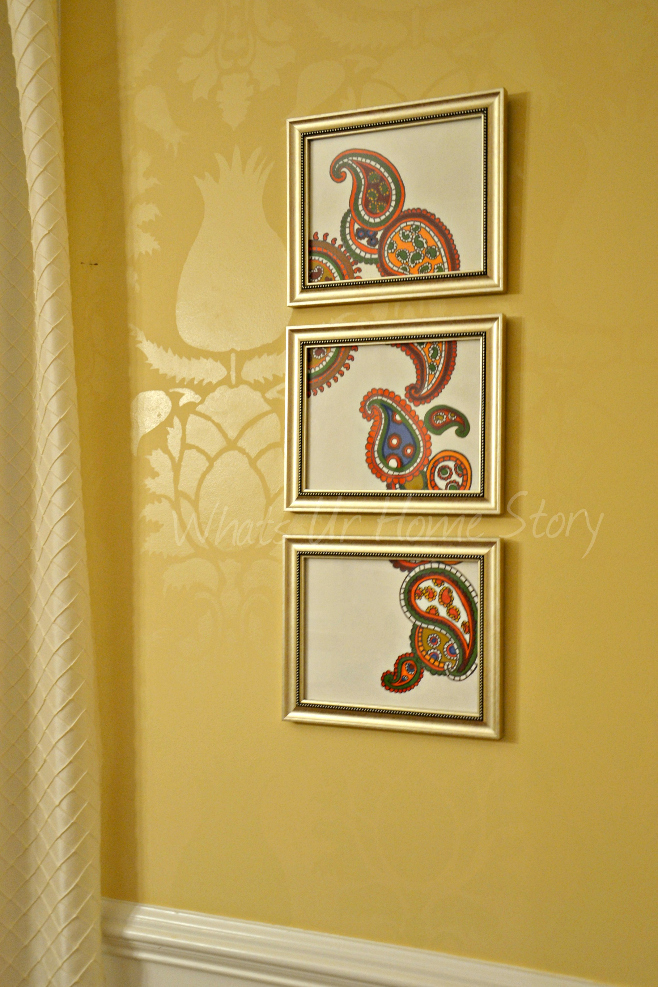DIY Paisley Pattern Triptych Art (for $5) Tutorial