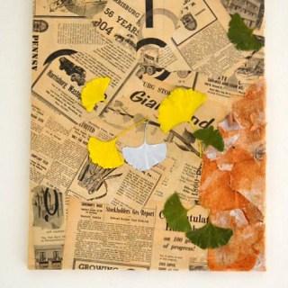 recycled newspaper art, vintage newspaper mixed media art