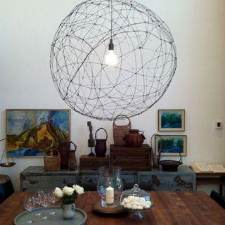 galvanized wire orb chandelier