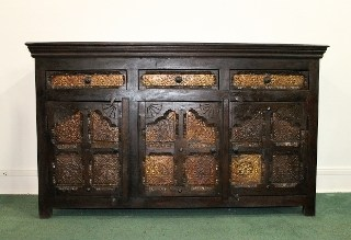 Brass Inlaid Buffet Sideboard
