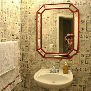 Octagon mirror, powder room mirror makeover