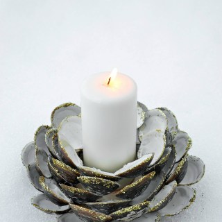 clam shell candle holder, diy seashell candle holder, beach decor