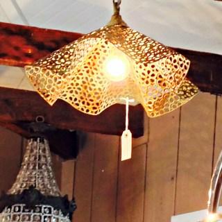 bowl chandelier, vintage hip decor